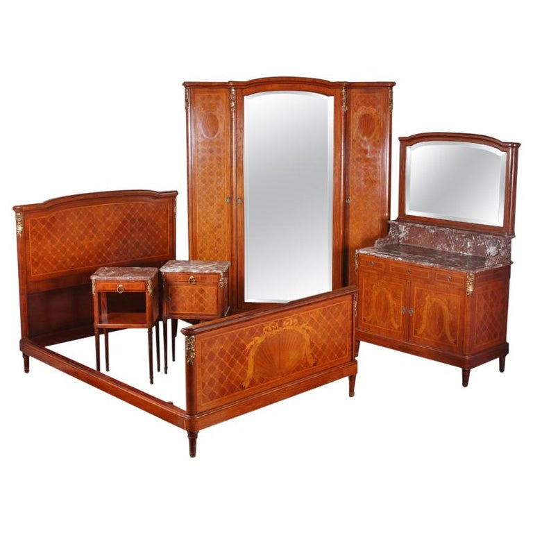 Five Piece French Inlaid Louis XVI Bedroom Suite For Sale