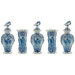 Five-Piece Mantel Garniture in Blue and White Dutch Delftware