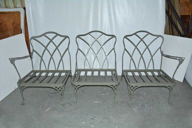 Other Five-Piece Painted Wrought Iron Spring Rocker Lounging Set For Sale