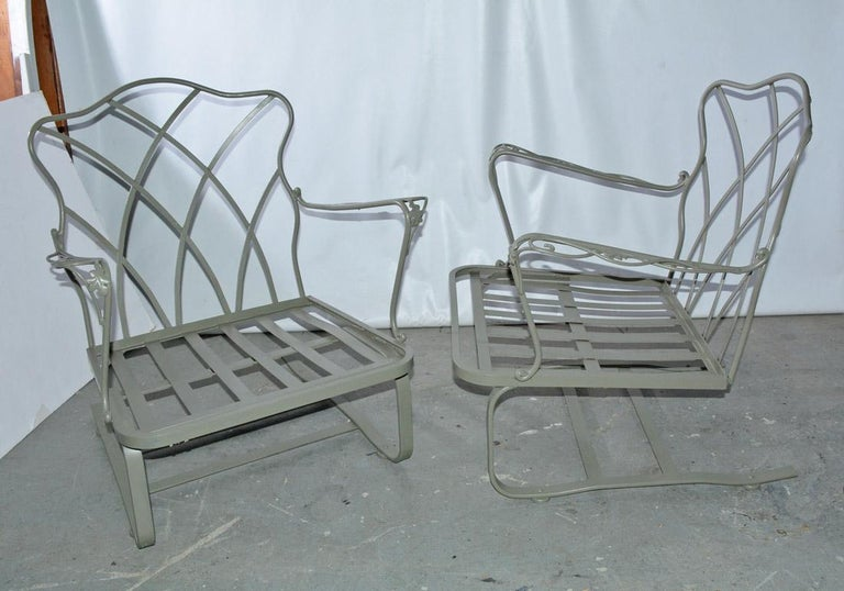 20th Century Five-Piece Painted Wrought Iron Spring Rocker Lounging Set For Sale