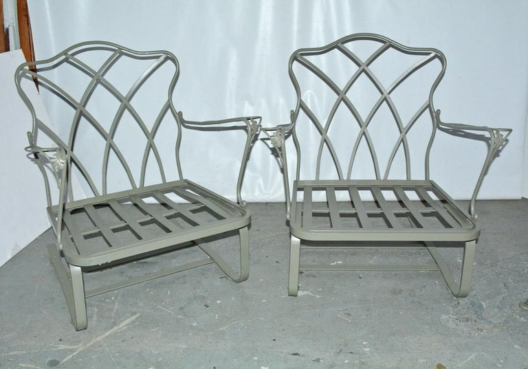 Five-Piece Painted Wrought Iron Spring Rocker Lounging Set For Sale 1