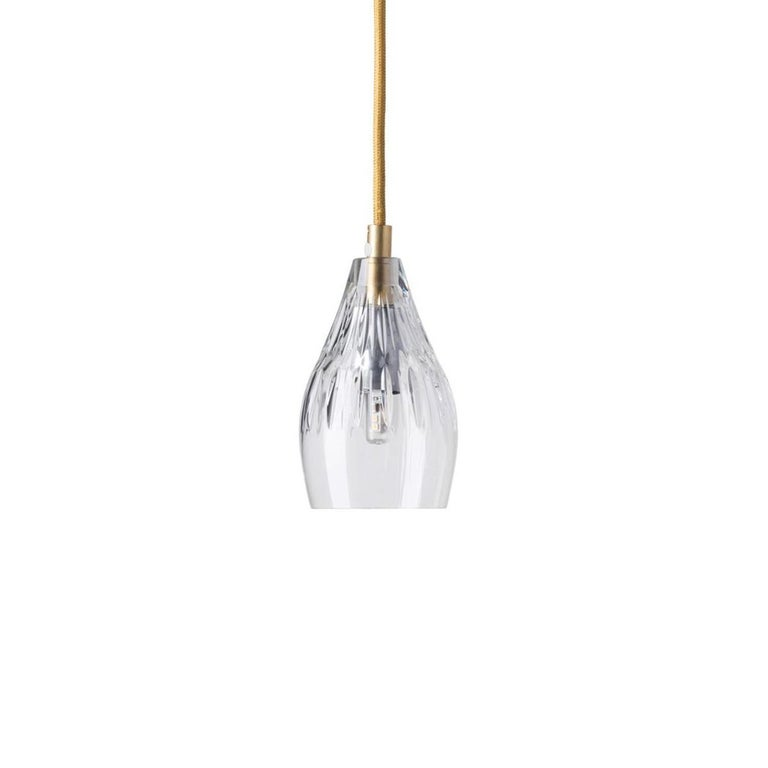 Scandinavian Modern Five-Piece Set of Mouth Blown Etched Crystal Pendant Lamps, Gold For Sale
