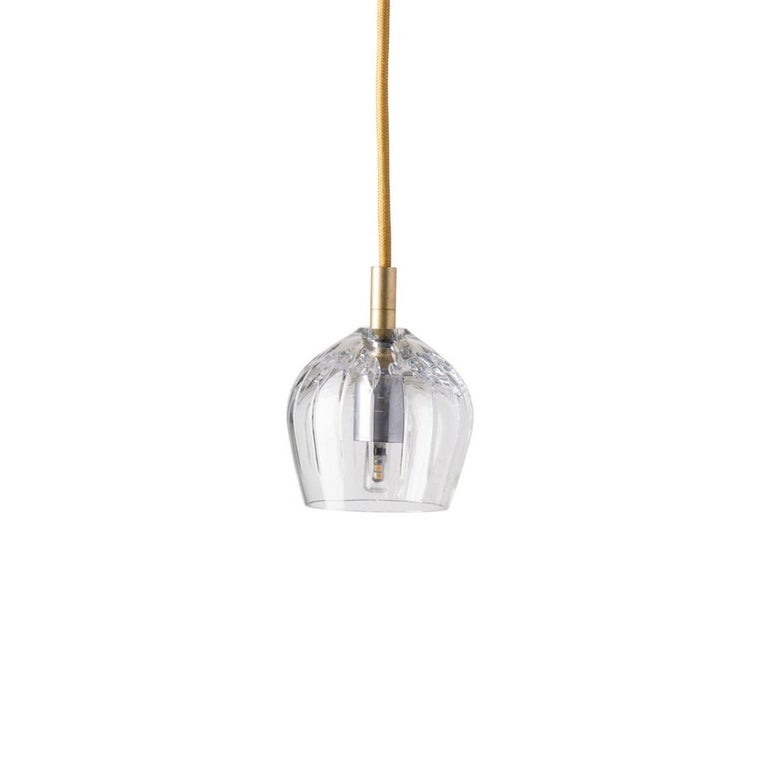 Danish Five-Piece Set of Mouth Blown Etched Crystal Pendant Lamps, Gold For Sale