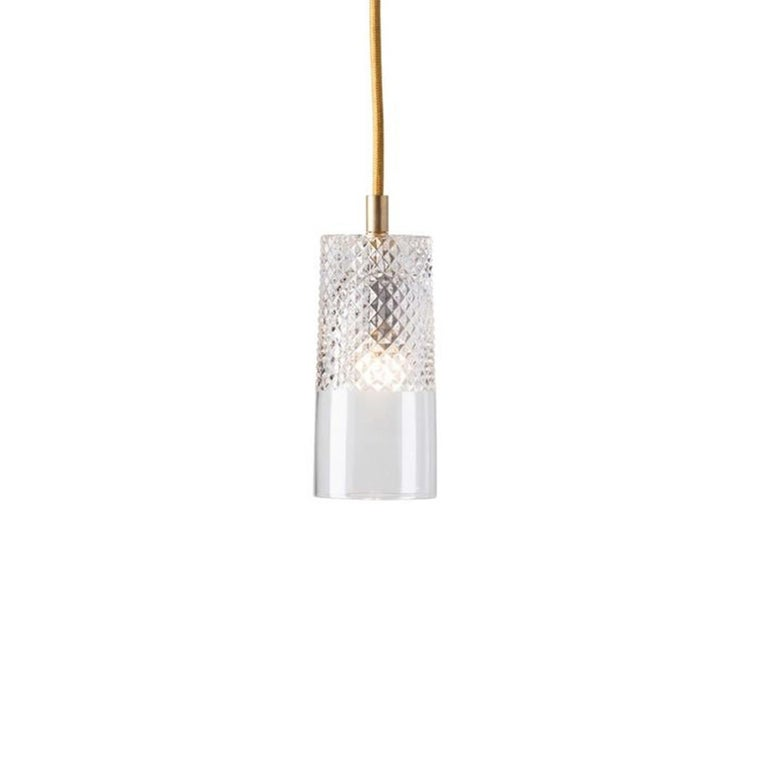 Brushed Five-Piece Set of Mouth Blown Etched Crystal Pendant Lamps, Gold For Sale