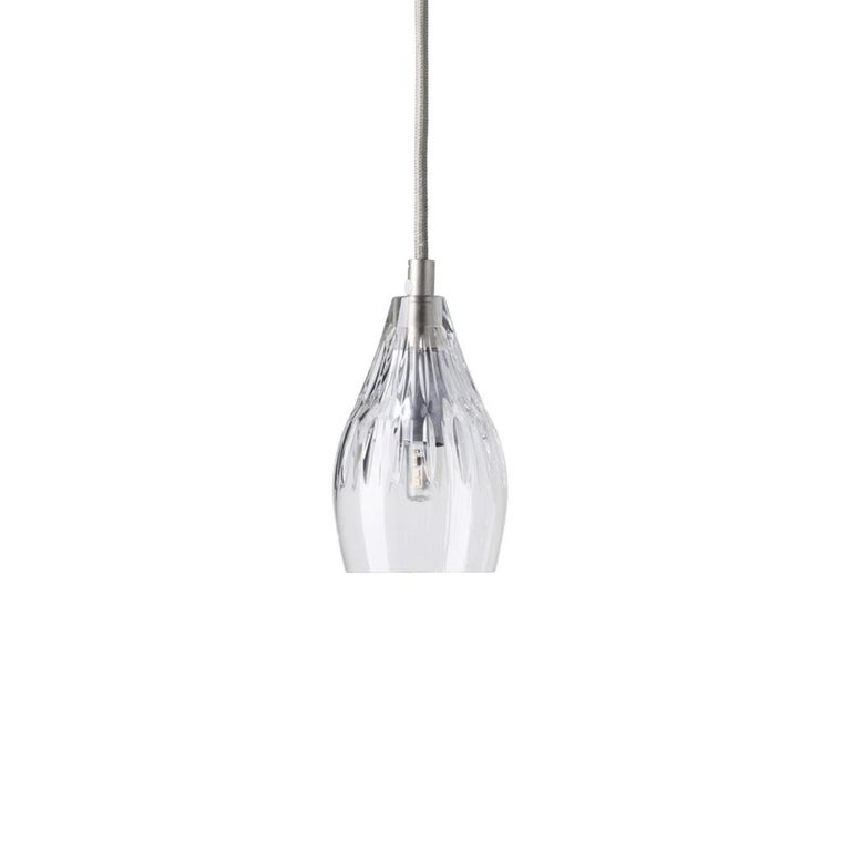 Scandinavian Modern Five-Piece Set of Mouth Blown Etched Crystal Pendant Lamps, Silver For Sale