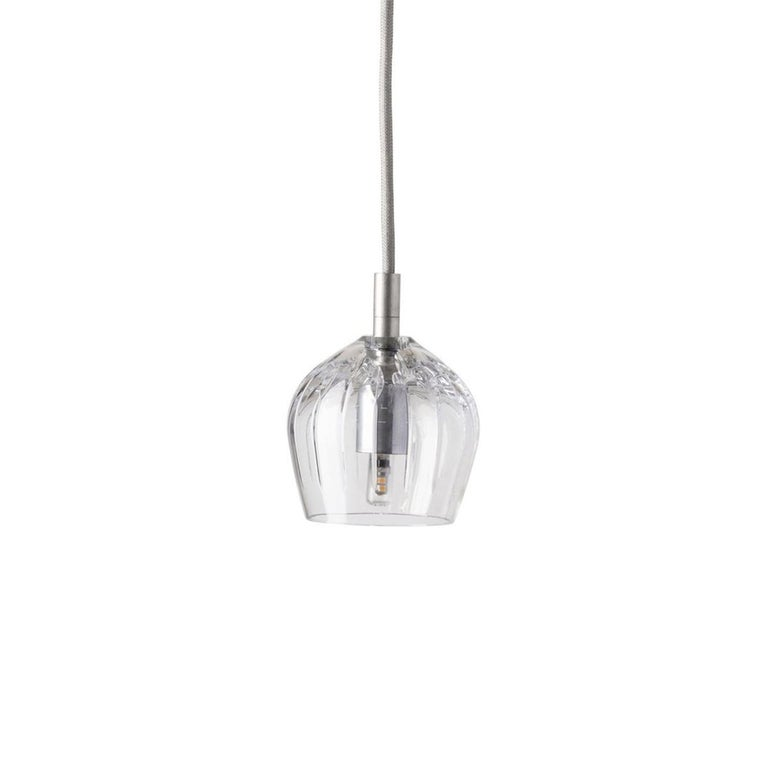 Danish Five-Piece Set of Mouth Blown Etched Crystal Pendant Lamps, Silver For Sale