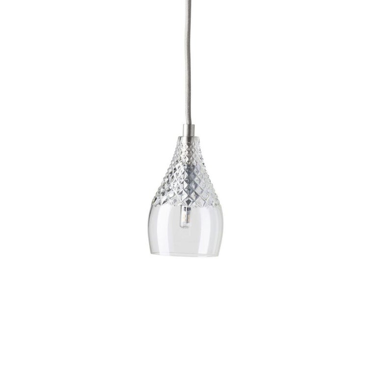 Brushed Five-Piece Set of Mouth Blown Etched Crystal Pendant Lamps, Silver For Sale