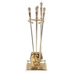 Five Piece Solid Brass Fireplace Tool Set