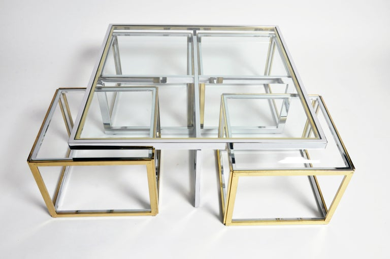 French Brass, Chrome, and Glass Coffee Table Ensemble For Sale