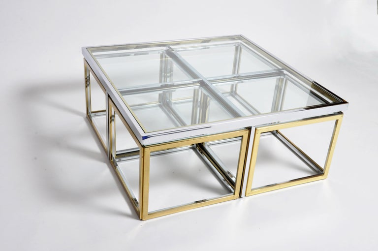 Brass, Chrome, and Glass Coffee Table Ensemble In Good Condition For Sale In Chicago, IL
