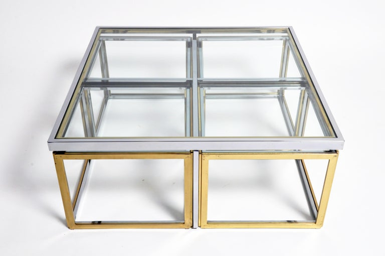 20th Century Brass, Chrome, and Glass Coffee Table Ensemble For Sale