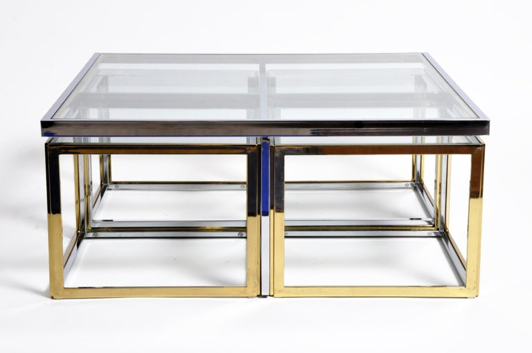 Brass, Chrome, and Glass Coffee Table Ensemble For Sale 1