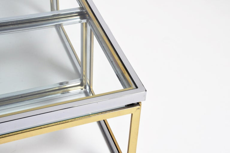 Brass, Chrome, and Glass Coffee Table Ensemble For Sale 3