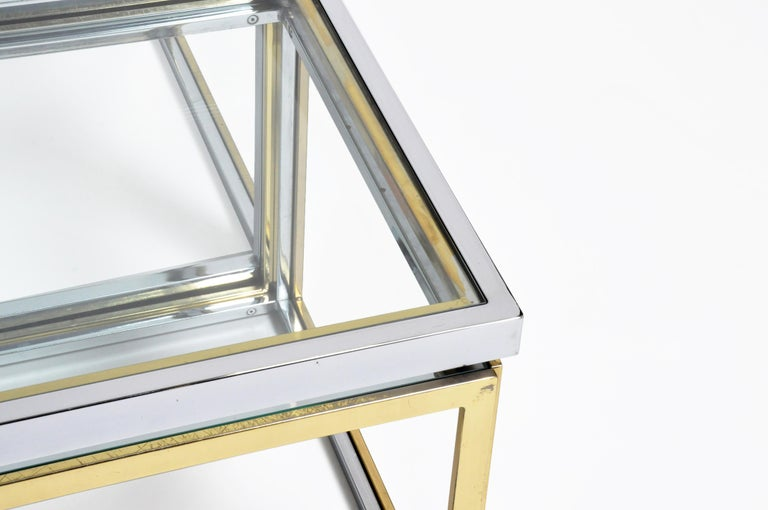 Brass, Chrome, and Glass Coffee Table Ensemble For Sale 4