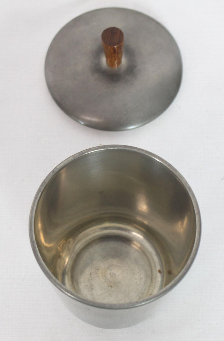 Five Pieces Mid-Century Modern Tea Coffee Set by Royal Holland Pewter Teak For Sale 5
