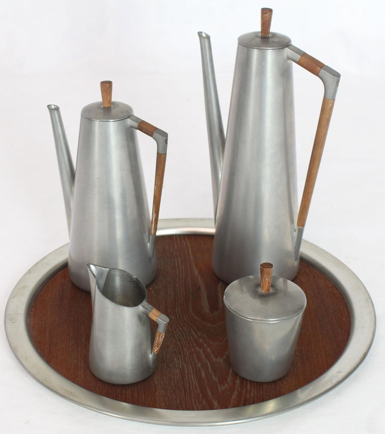 Five Pieces Mid-Century Modern Tea Coffee Set by Royal Holland Pewter Teak For Sale 9