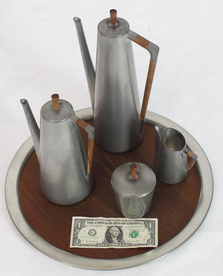 Five Pieces Mid-Century Modern Tea Coffee Set by Royal Holland Pewter Teak For Sale 11