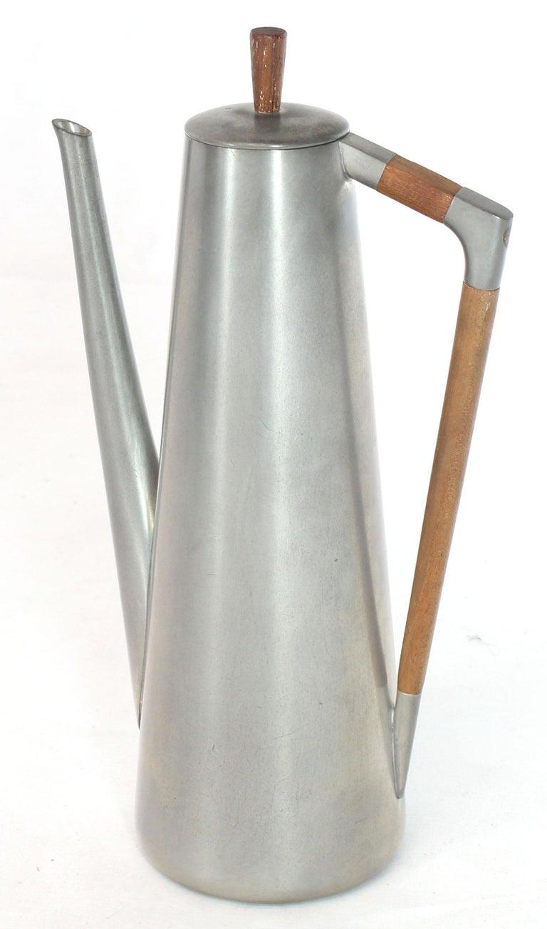 Mid-Century Modern pewter and cerused teak coffee tea set. Measures: Large 16