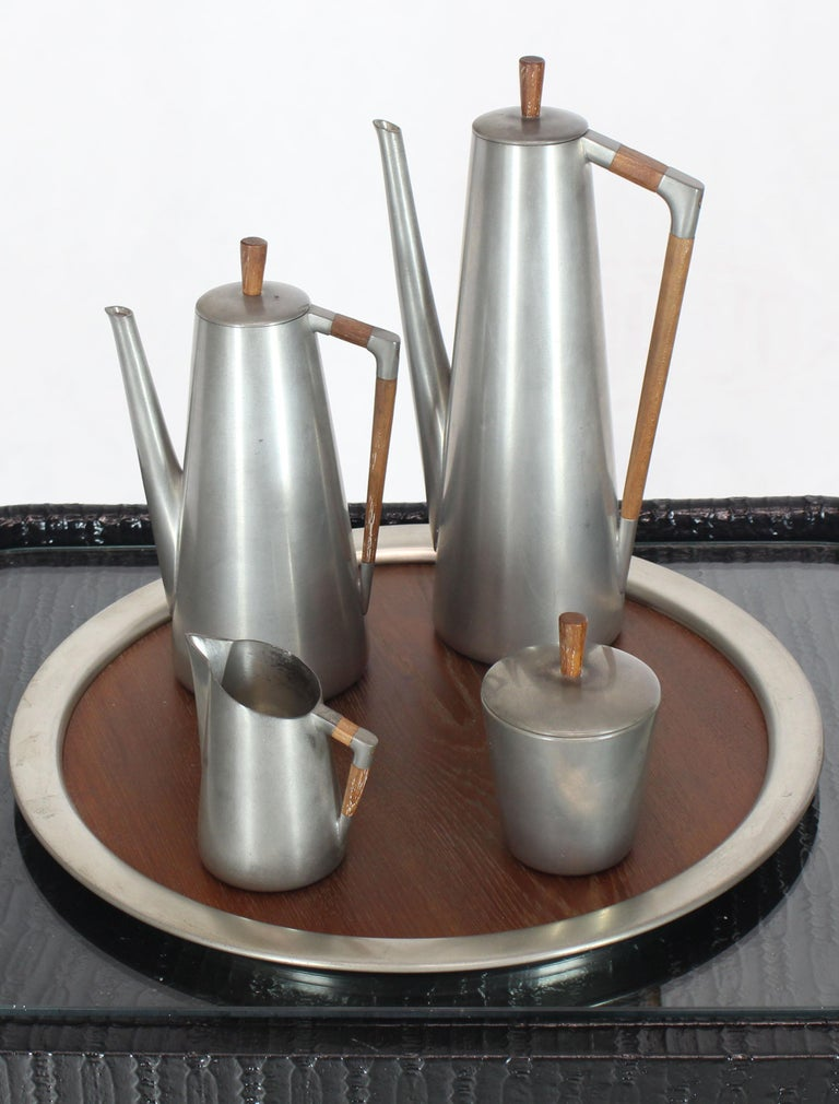 Dutch Five Pieces Mid-Century Modern Tea Coffee Set by Royal Holland Pewter Teak For Sale