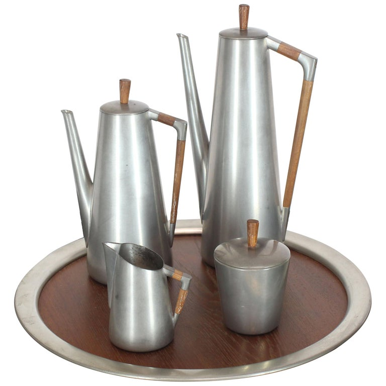 Five Pieces Mid-Century Modern Tea Coffee Set by Royal Holland Pewter Teak For Sale