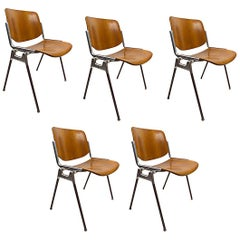 Five Piretti for Castelli Wood and Aluminum Stacking Chairs