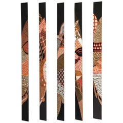 Five Pyramid Form Painted Abstract Wall Mounted Panels