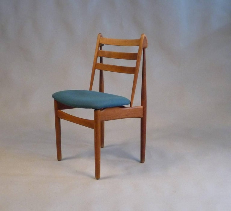 Set of five Poul M. Volther model J60 oak dining chairs designed for FDB Møbler in 1955.  The chairs have the look, the feeling of the 1950s and the special patina that only 60 years of use can give. Our cabinetmaker have carefully examined and
