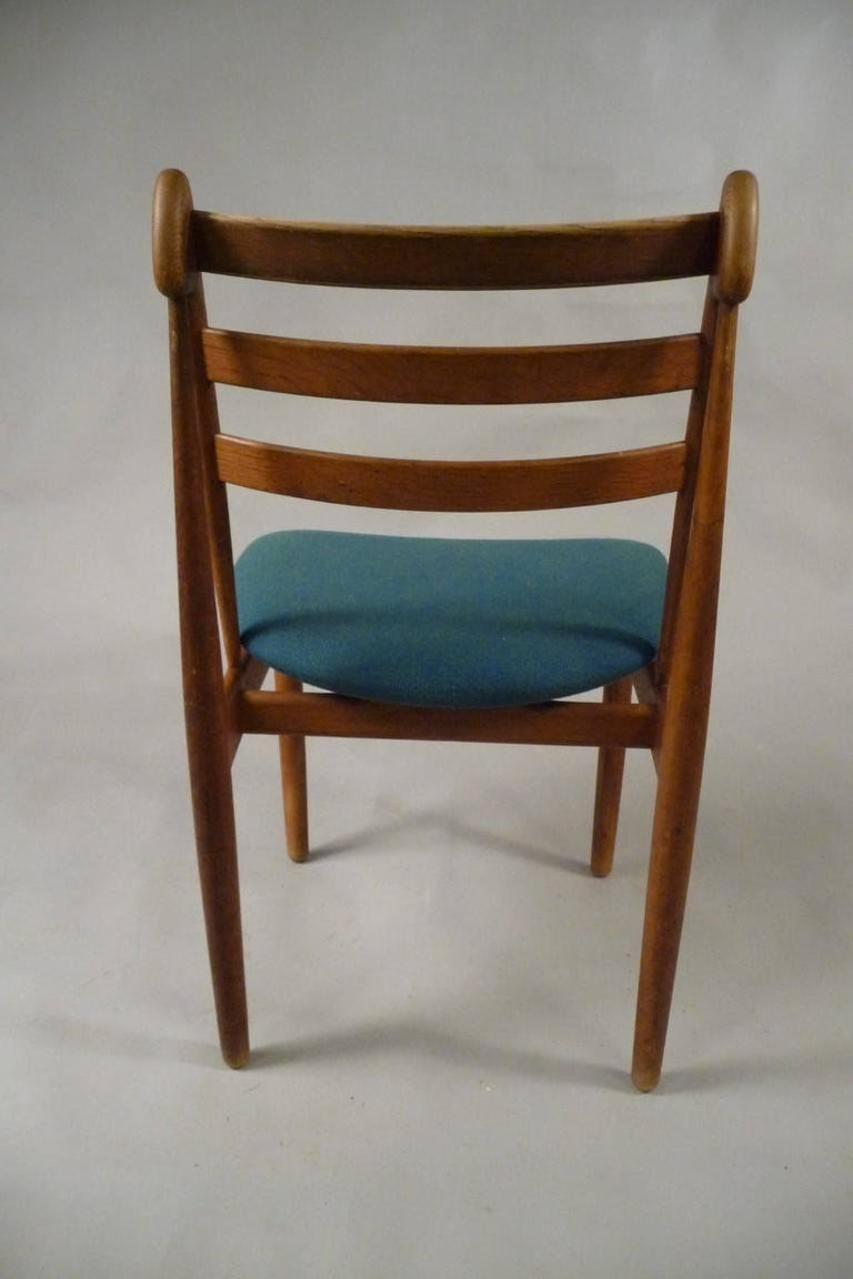 Scandinavian Modern Five Refinished Poul Volther Dining Chairs in Oak, Choice of Upholstery For Sale