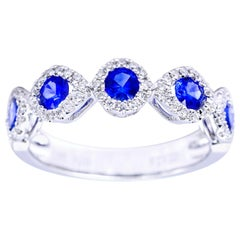 Five Round Sapphire Ring with Diamond Halos