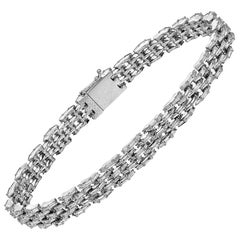 Five-Row Baguette-Cut Diamond Link Bracelet