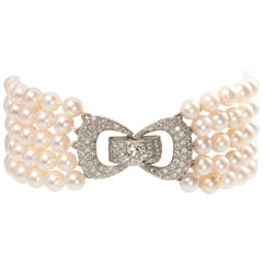 Five Row Cultured Pearl and Diamond Bracelet