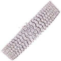 Five-Row Diamond 18 Karat White Gold Flexible Link Tennis Bracelet
