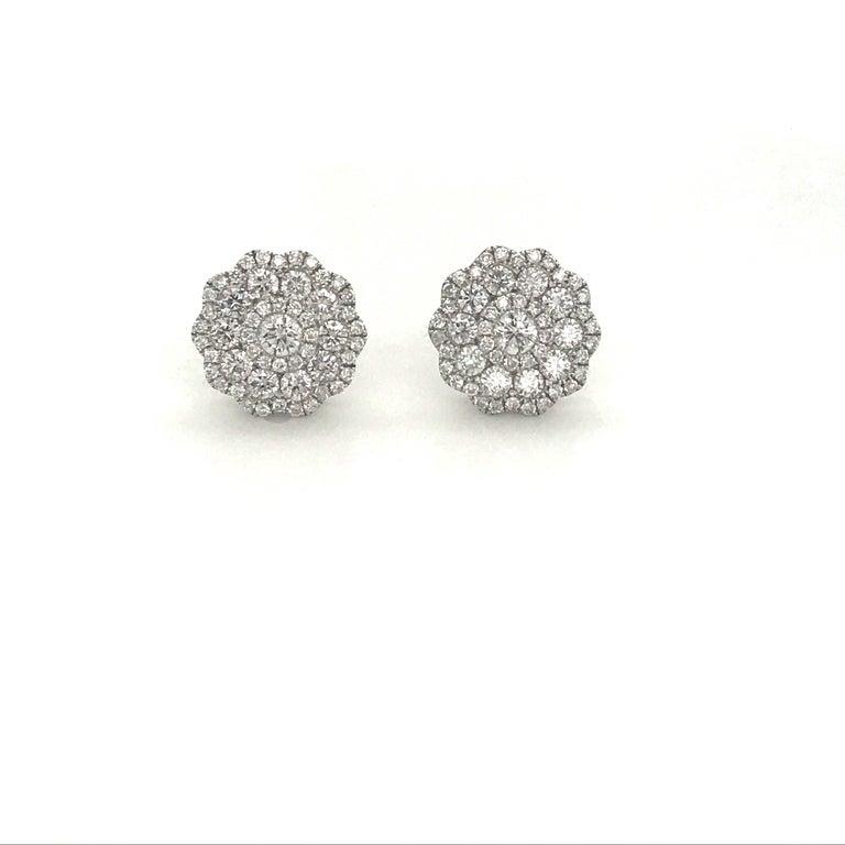 Contemporary Five-Row Diamond Cluster Flower Earrings 1.38 Carat 18 Karat White Gold For Sale