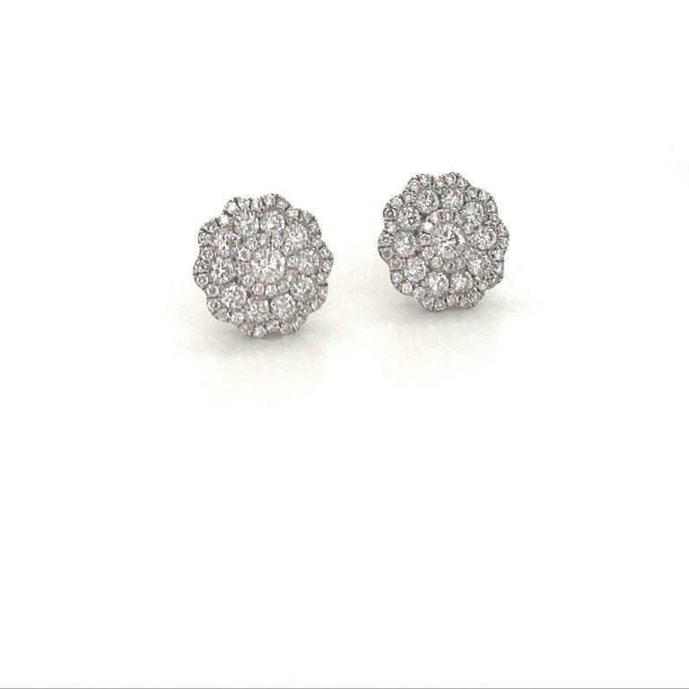 Round Cut Five-Row Diamond Cluster Flower Earrings 1.38 Carat 18 Karat White Gold For Sale