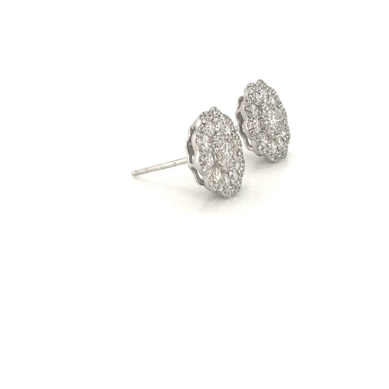 Women's Five-Row Diamond Cluster Flower Earrings 1.38 Carat 18 Karat White Gold For Sale