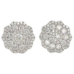 Five-Row Diamond Cluster Flower Earrings 1.38 Carat 18 Karat White Gold