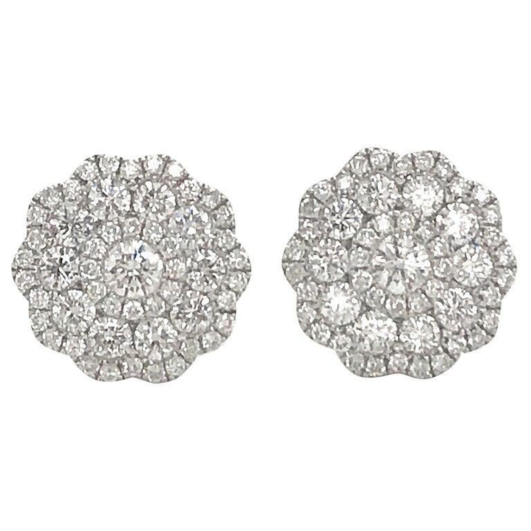 Five-Row Diamond Cluster Flower Earrings 1.38 Carat 18 Karat White Gold For Sale