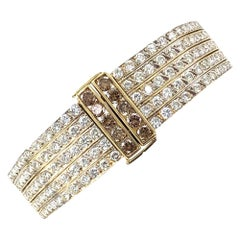 Five-Row Diamond Hinged Bangle Bracelet 18 Karat Yellow Gold