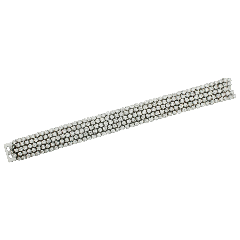 Five-Row Diamond Tennis Bracelet in 18 Karat 15.00 Carat Petite Size