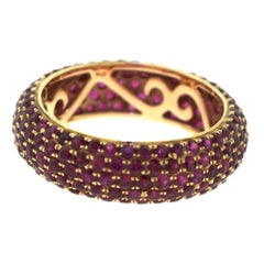 Five-Row Micro Pave Ruby in 18 Karat Rose Gold Eternity Band Ring