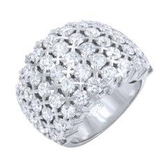 Five-Row Statement Cluster Diamond Ladies Ring 4.39 Carat