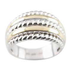 Five-Row Two-Tone Gold Band Ring