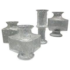 Five Scandinavian Midcentury Blown Ice Glass Vases by Timo Sarpaneva Iittala
