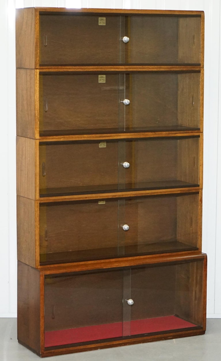 Five Section 1960s Simplex Medium Oak Stacking Legal Library Bookcase Glass For Sale At 1stdibs