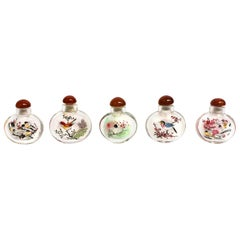 Five Snuff Bottles with Birds Reverse Painted Agate Top