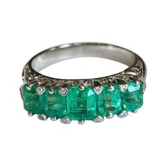 Five Stone Colombian Emerald Victorian Style Ring 18K