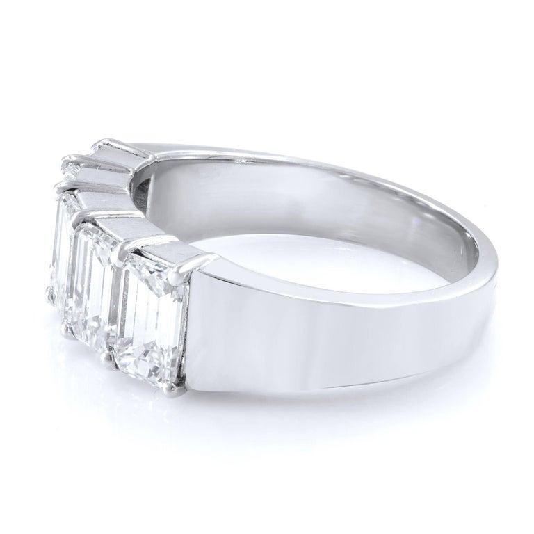 Modern Five-Stone Diamond Anniversary Ring 2.57 Carat Platinum For Sale