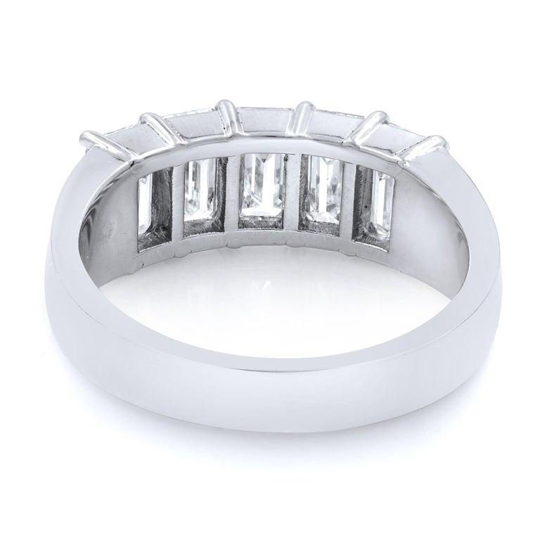 Emerald Cut Five-Stone Diamond Anniversary Ring 2.57 Carat Platinum For Sale