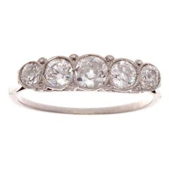 Five-Stone Diamond Platinum Ring
