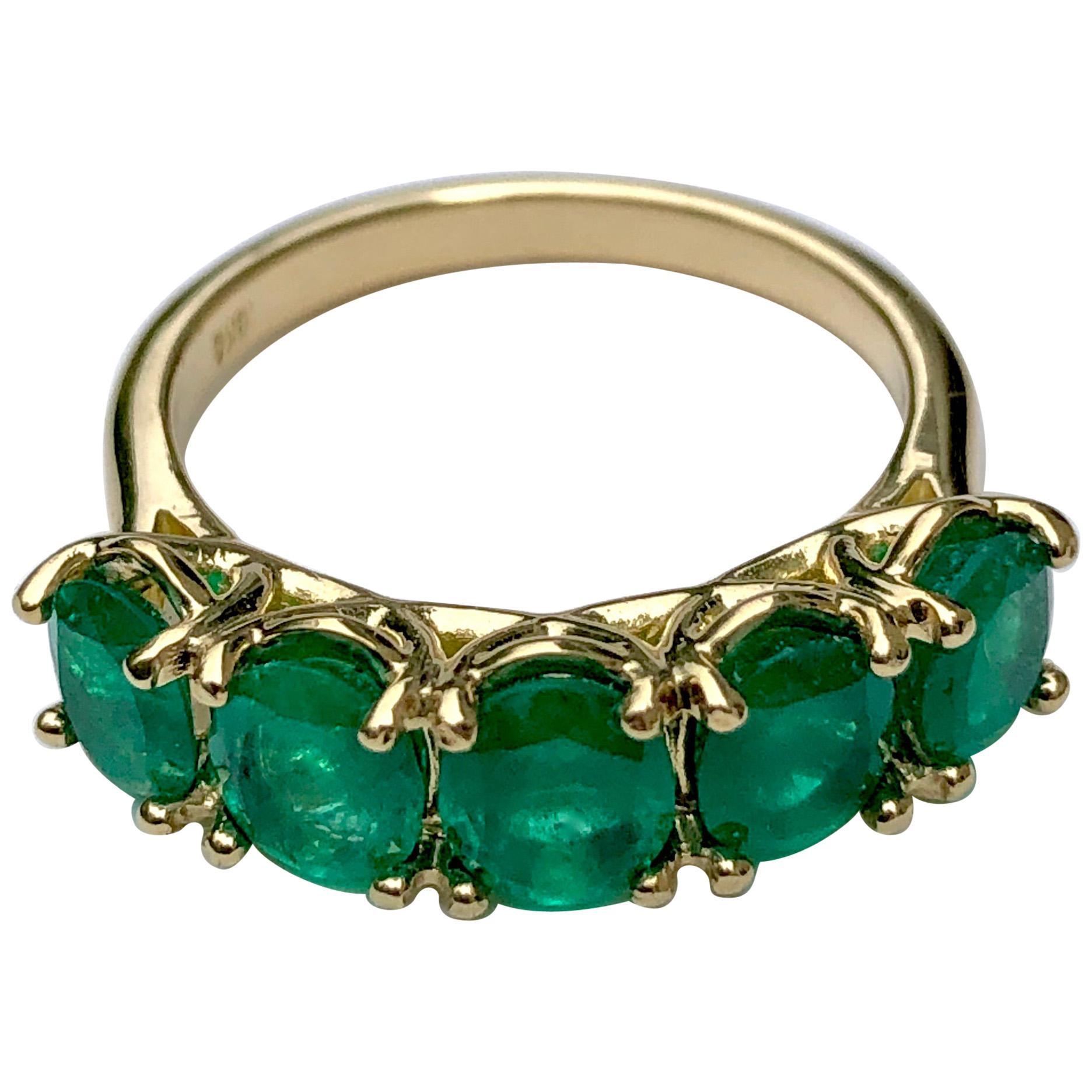 Five-Stone Colombian Natural Emerald 18 Karat Gold Ring